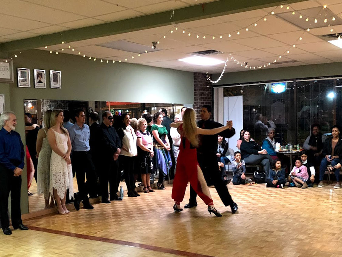 dance class in ballroom