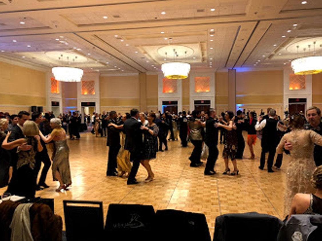 dance class in large ballroom