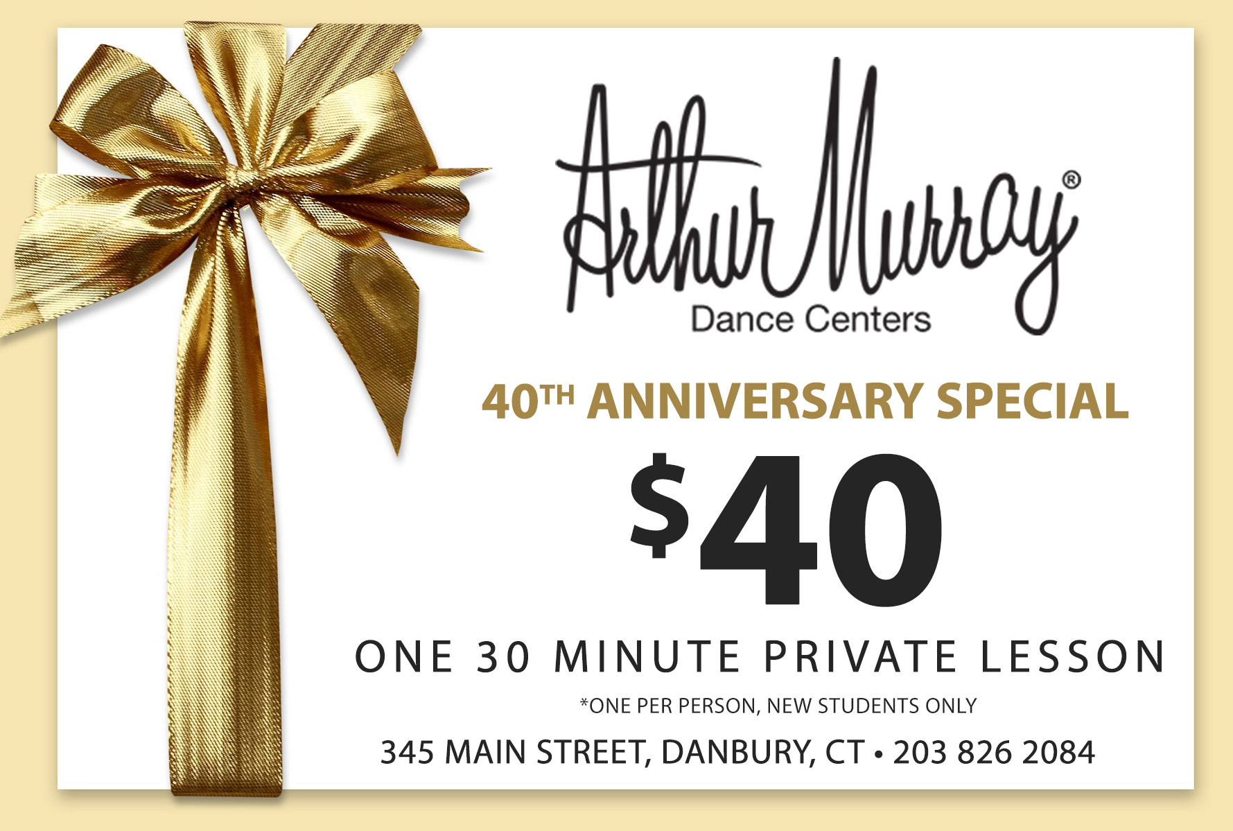 40th anniversary special $40 new students